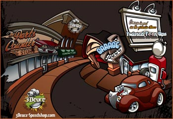 3deuces hotrod art cartooning services speedshop website