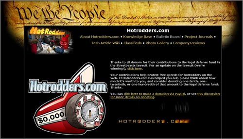 Hotrodders.com Street Beasts Lawsuit Donations Page Design
