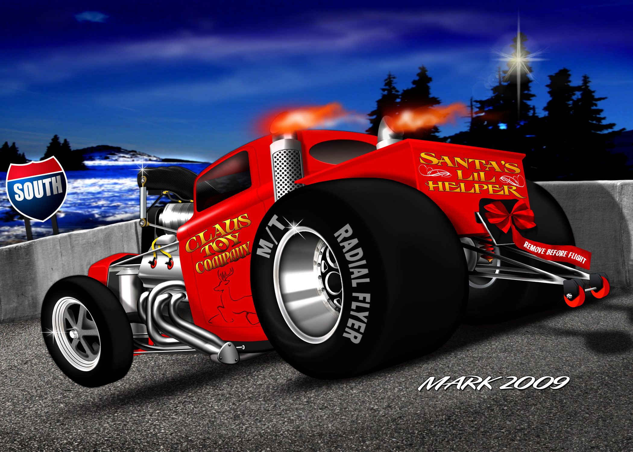 Christmas Hot Rod Cards, Merry Christmas Guys - Draglist.com Drag Racing