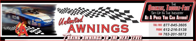 Visit Unlimited Awnings race trailer and hospitality awnings sales and informational website homepage